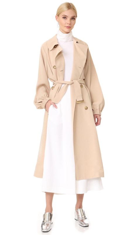 Tibi Twill Trench Coat Sand Blush trench coats spring 2017