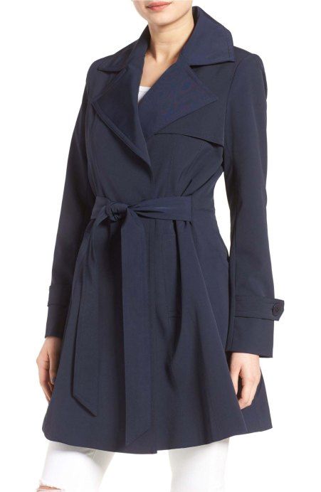 Trina Turk Phoebe Double Breasted Trench Coat Navy Blue trench coats spring 2017