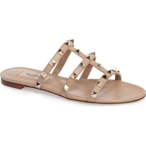 VALENTINO Rockstud Slide Sandal Camel Leather flat slide sandals spring 2017