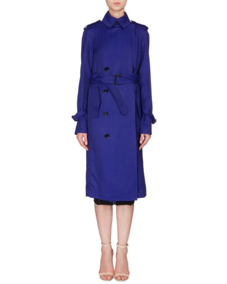 Victoria Beckham Fluid Double-Breasted Trench Coat Deep Cobalt trench coats spring 2017