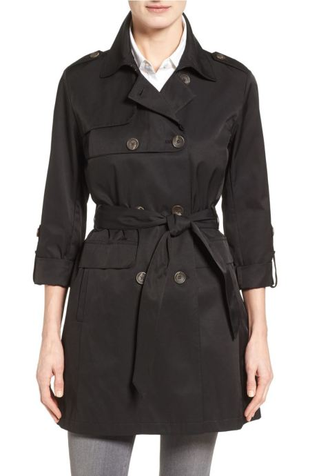 Vince Camuto Double Gunflap Trench Coat Black top trench coats spring 2017