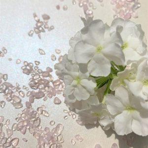 Rose Quartz with white flower