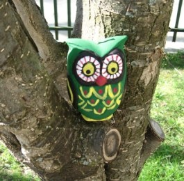 painted owl candle
