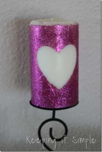 Glitter Heart Candle @ Craft Gossip
