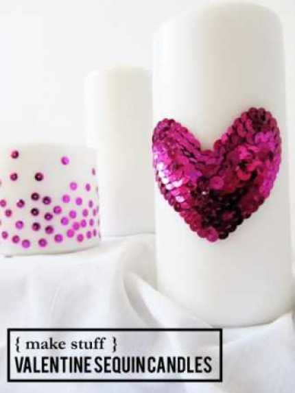 Sequin Embellished Candles @ Craft Gossip