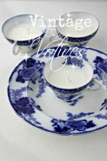 Vintage Chipped Teacup Candles