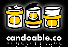 candoable logo with three illustrated containers wearing candos and the words candoable.co in bold white print and braille translation underneath