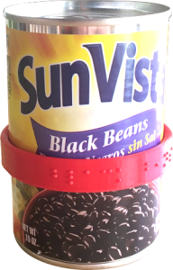 a can of black beans wearing a CanDo label