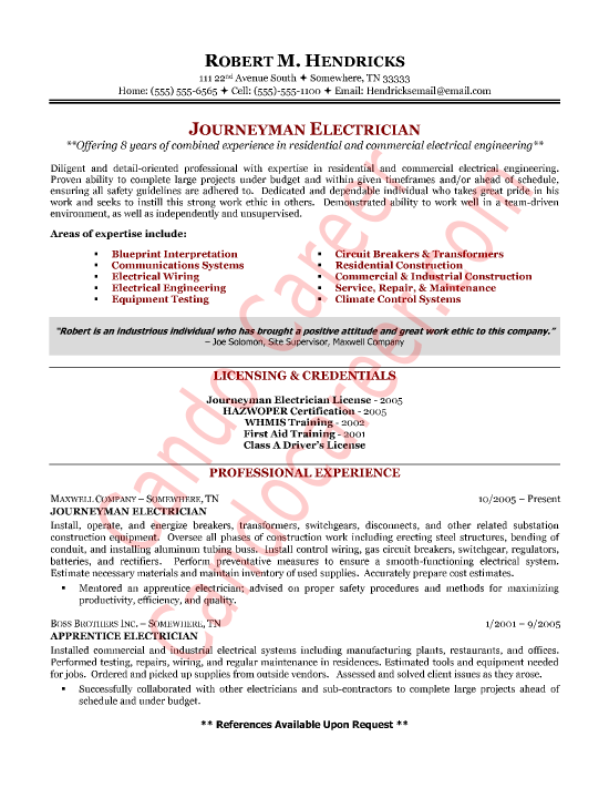 Journeyman Electrician Cover Letter Sample  Cando Career