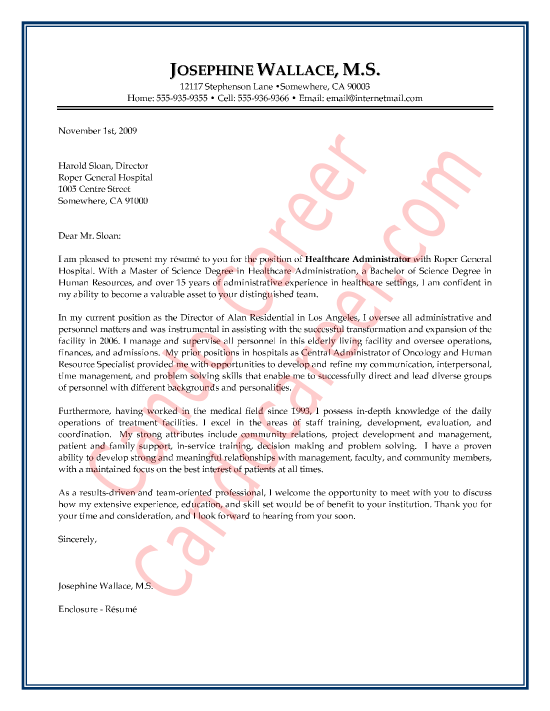 Healthcare Administrator Cover Letter Sample by Cando Career Coaching