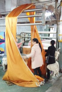 Part of the tie manufacturing process: drying fabric