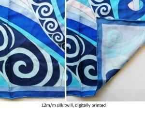 blue abstract designs on custom silk scarves