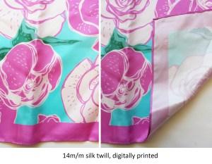 pink and blue floral design on custom silk scarves
