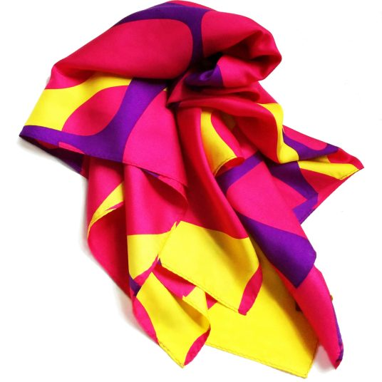 This vibrant Cell Marque scarf is a silk square scarf.