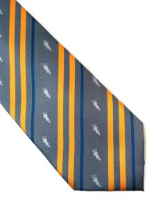 gray pipe band tie with orange and blue stripes