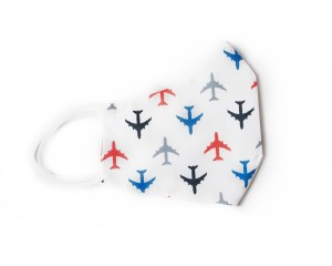 side view of white cotton face mask with airplanes pattern