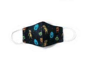 front view of navy cotton face mask with colorful critters pattern