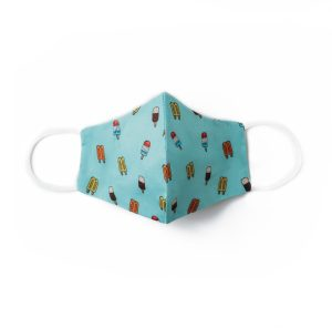 front view of teal cotton face mask with popsicle pattern