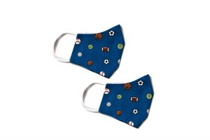 side view of blue kids and toddler cotton face mask with sports themed pattern