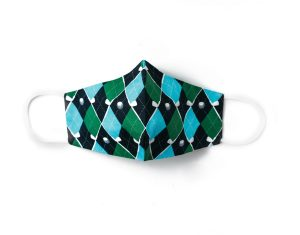 front view of blue and green plaid golf themed cotton face mask