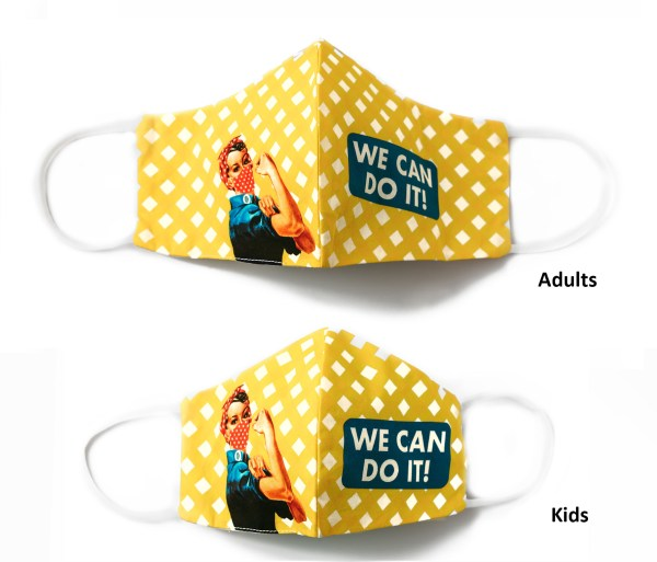 front view of adult and kids yellow checkered Rosie the Riveter face masks