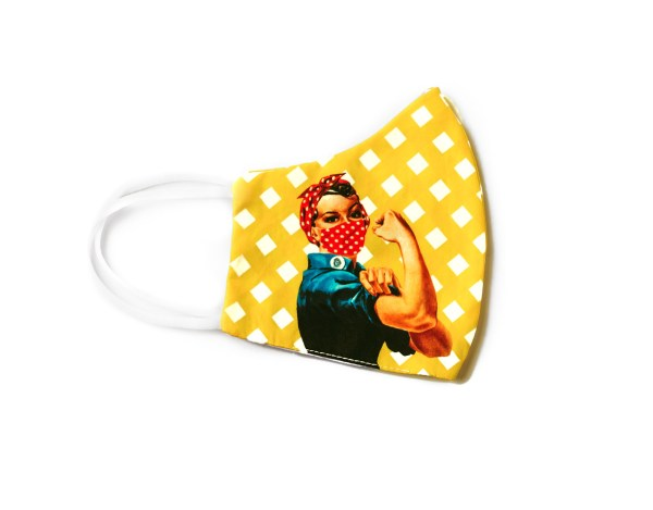side view of yellow checkered cotton face mask with image of Rosie the Riveter