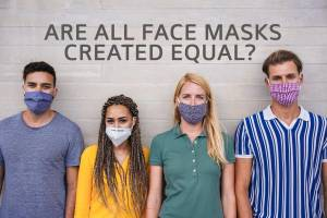 four young people in fabric face mask options