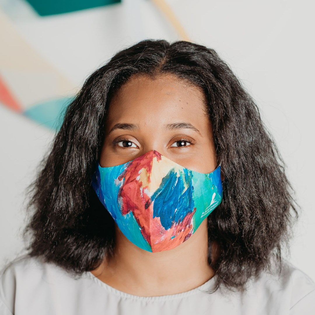 model wearing a colorful custom cotton face mask