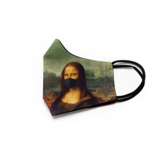 side view of cotton face mask depicting mona lisa wearing a mask