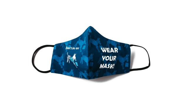 front view of navy face mask with donky pattern and wear your mask! text