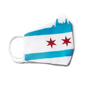 side view of white cotton face mask with large Chicago flag and skyline design