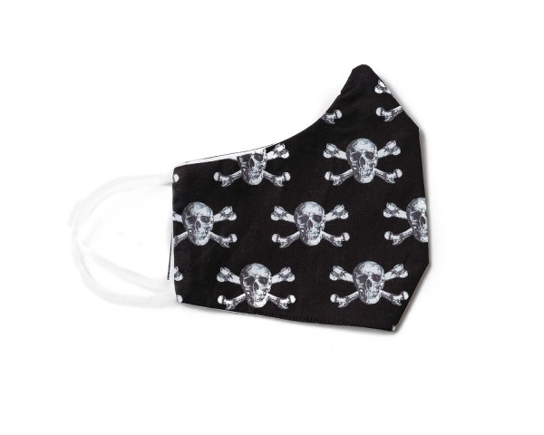 side view of black cotton face mask with skull and crossbone pattern