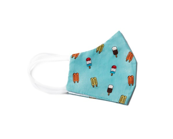 side view of teal cotton face mask with popsicle pattern