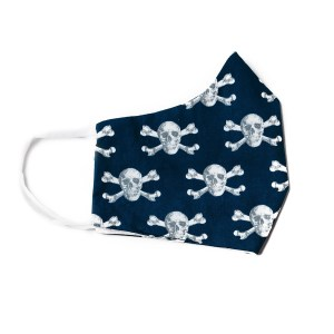 side view of navy cotton face mask with skull and crossbone pattern