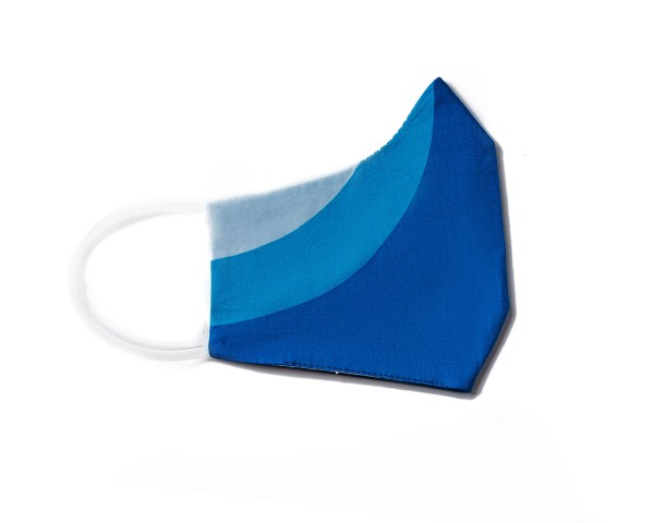 side view of blue sporty cotton face mask