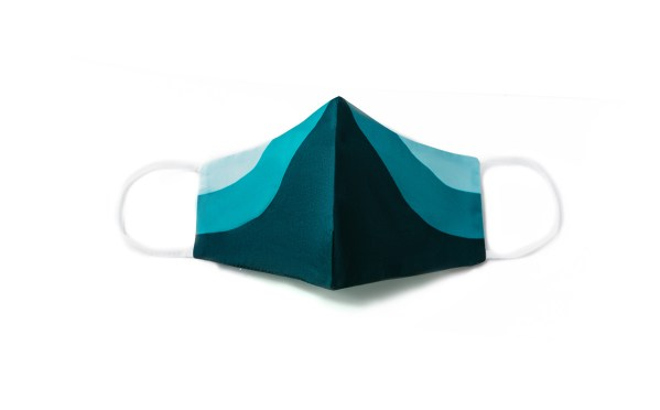 front view of teal sporty cotton face mask