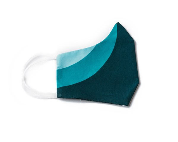 side view of teal sporty cotton face mask