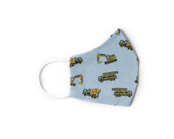 side view of light blue cotton face mask with yellow construction vehicles pattern