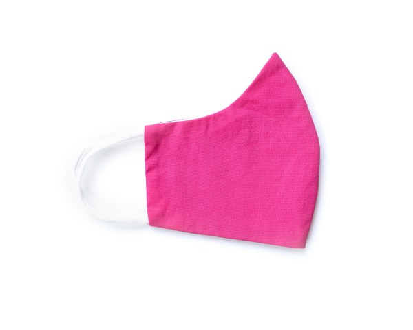 side view of fuchsia cotton face mask