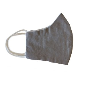 side view of gray cotton face mask