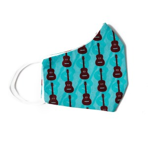 side view of teal cotton face mask with guitar pattern