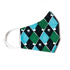 side view of navy, green and light blue plaid face mask with golf themed pattern