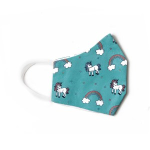 side view of teal cotton face mask with rainbow and unicorn pattern