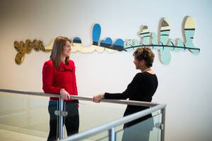 Becky Feinberg-Galvez and Rhonda Kapp, owners of custom apparel company Candor Threads