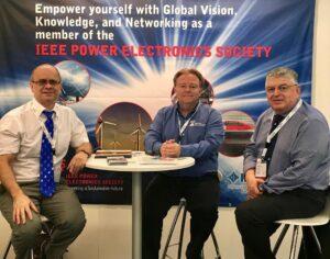 PELS Immediate past-President Braham Ferreira, Executive Director Mike Kelly, and VP Global Relations Mario Pacas, at PCIM in Nuremberg, Germany!