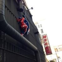スパイダーマンが神戸牛を狙ってる!?