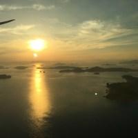 夕暮れのしまなみ海道近くから空撮