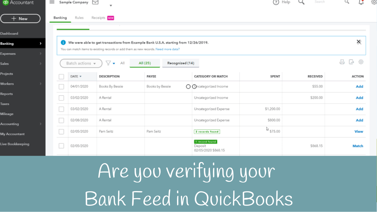 Do You Need To Reconcile If You Re Using The Bank Feed In Quickbooks Candus Kampfer