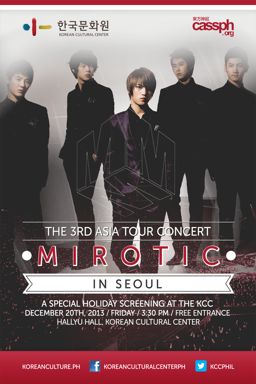 [EVENT] KCC CONCERT SCREENING: TVXQ Mirotic Live in Seoul + CASSPH Booth at the KPOPCON5!