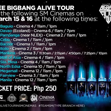 Are you watching BIGBANG Alive Tour at SM CINEMAS this weekend?